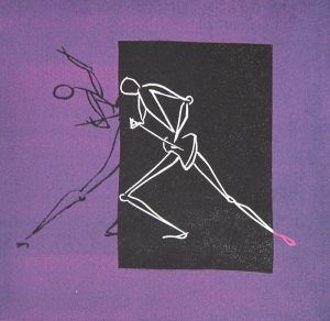 """""""Ibanez I"""". Linoleum print. Monotypi. 25x25 cm (40x40 cm incl.p.p.t. +frame)"""