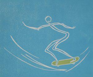 """""""Skate I"""". Linoleum print. Monotypi. 25x30 cm (40x40 cm incl.p.p.t. +frame)"""